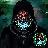 lenbest Máscara LED, 3 Modos de Máscara Luminosa Electrónica, Cosplay de Disfraces de Máscara Brillante, Adecuado para Halloween/Fiesta/Carnaval/Carnaval, para Hombres y Mujeres/Adultos y Niños