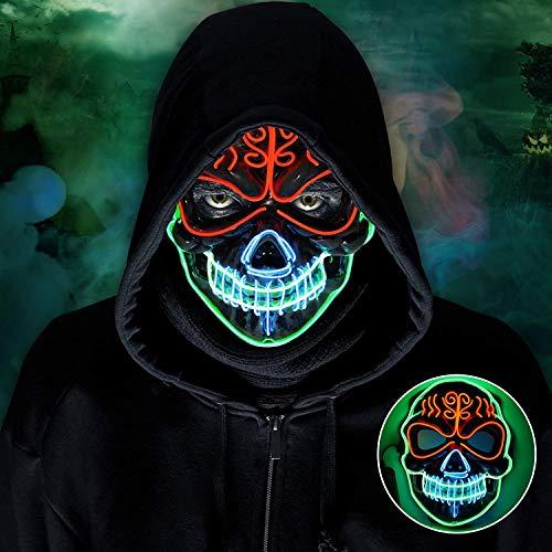 lenbest LED Maske, 3 Lichteffekten Modi Elektronik Purge Maske, Grusel Maske Kleidung Cosplay für Halloween, Party, Karneval, Fasching für Herren & Damen/Erwachsene & Kinder