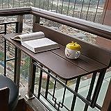 KKJKK Balcón Plegable Mesa de Barandilla Colgante Ajustable Plataforma Patio Jardín Mesa Exterior Mesas Auxiliares Montado en la Pared Comedor Mesa de Ocio Café Bar Encimera Mesa,80x37cm