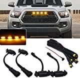 Miniclue 4pcs Smoked Lens Amber LED Front Grille...