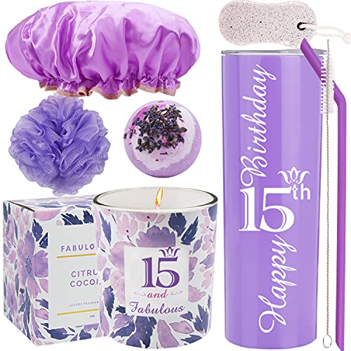 15th Birthday Tumbler, 15th Birthday Gifts for Girl, 15 Birthday Gifts, Gifts for 15th Birthday Girl, 15th Birthday Decorations, Happy 15th Birthday Candle, 15th Birthday Party Supplies