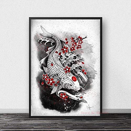Tinta Zen Japonesa Bonsa Bushido Samurai Carteles E Impresiones Lienzo Arte Pintura Cuadros De Pared para Decoración De Sala De Estar Cuadro En Lienzo Sin Marco 50X70Cm -A2222