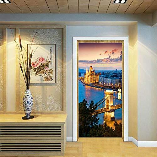 DIOPN slot brug licht nacht nachtlandschap deur sticker badkamer wc deur sticker DIY waterdichte kunst (deur sticker77* 200 cm)