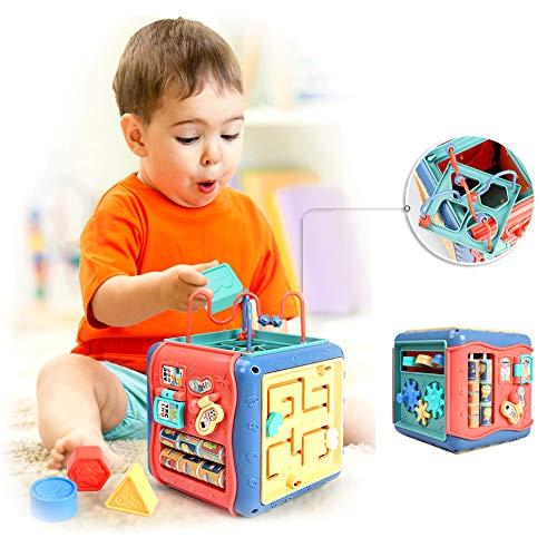 E-learning huis multifunctionele loopstoeltje activiteitencentrum kubus spel vroege jeugd muziek speelgoed, muziek/licht/geluid/vorm/nummer/letter