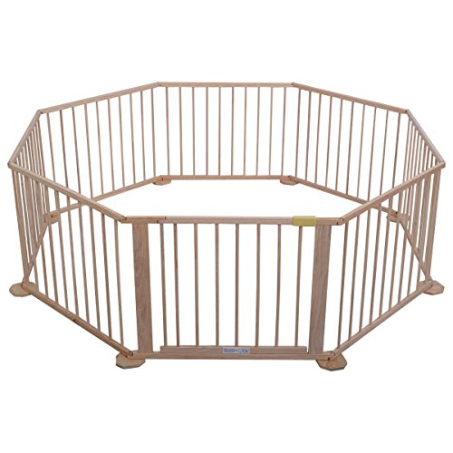Costzon Wooden Baby Playpen 8 Panels Versatile Play Space for Toddlers Safety Play Fence