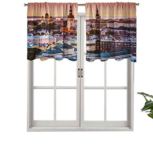 Hiiiman Cortinas con dobladillo para barra de cortina, cortinas de ventana de Tallin, Estonia, Old City con vista aérea al atardecer, juego de 1, 127 x 45 cm para ventana de cocina