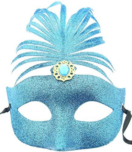 Inception Pro Infinite Máscara veneciana – Glitter – Color azul – Azul – Azul – Carnaval disfraz – Cosplay pluma – Fiesta – Halloween – Espectáculo – Mujer