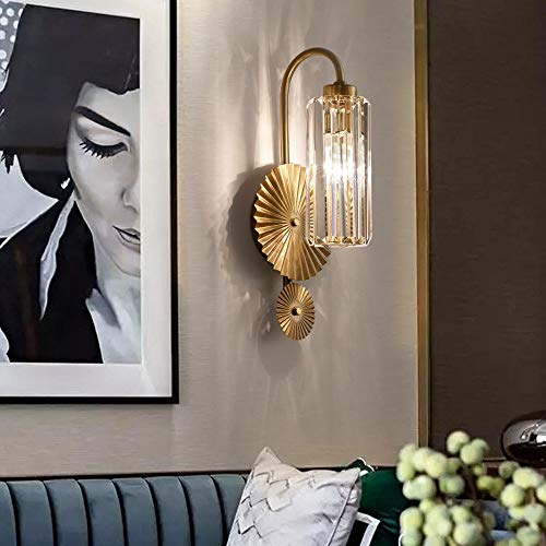 Sunny Lingt Mid Century Decor Crystal Wall Light Sconce, Luxury Clear Crystal Wall Lighting Fixture, Bedside Hallway Living Room LED Wall Lantern, European Wall Lamp, for Bedside Aisle Corridor