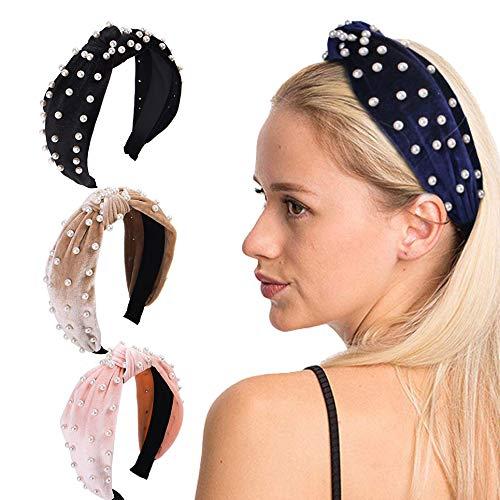 Zoestar Fluwelen Geknoopte Hoofdbanden Yoga Running Hoofd Wrap Vintage Turban Haar Bands Parel Elastische Haaraccessoires voor Vrouwen en Meisjes(Pack van 3)