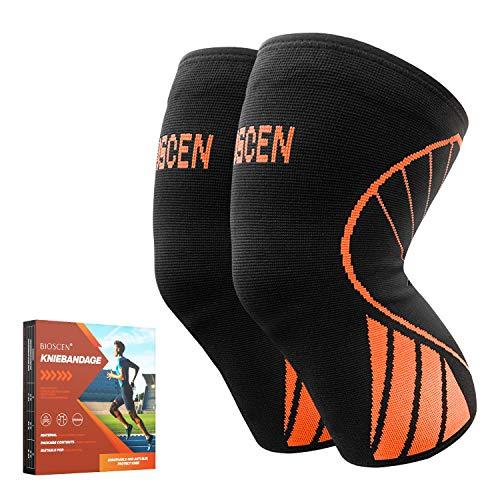 Kniebandage,2 Stück Sport Kniestütze für Männer Damen,Meniskus Arthrose Gegen Knieschmerzen Kompression Knieschoner, Rutschfest Atmungsaktiv Bandage Knie für Basketball, Volleyball, Laufen, Wandern