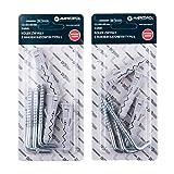 Set di 2 spine di espansione 12 x 60 mm con ganci in acciaio zincato tipo L 8,0 x 80 mm, tasselli di plastica (2)