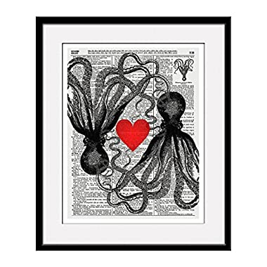 Octopus Love 11x14 Inch Reproduction Vintage Dictionary Art Print With Octopus  Definition - Unframed