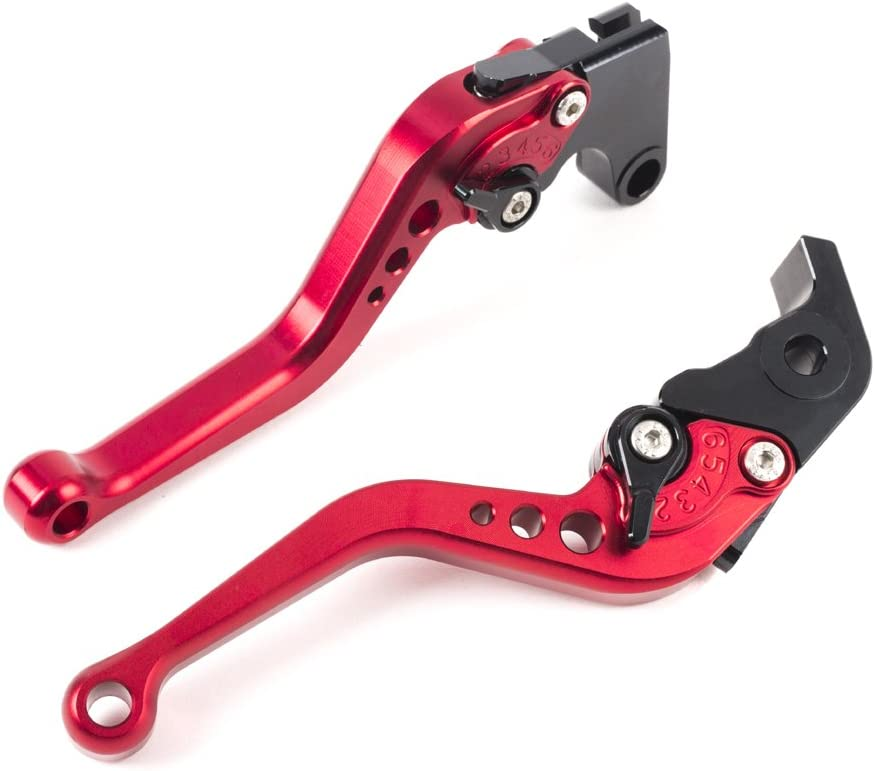 Alpha Rider CNC Motorcycle 6 Position Shorty Brake Clutch Levers for Yamaha YZF R1 2002-2003 YZF R6 1999-2004 Black Handle Red Adjuster Regulator YZF R1 1998