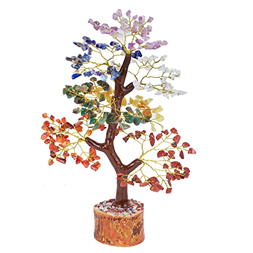 QUIPSA 7 Chakra Crystal Tree Feng Shui Good Luck Reiki Energy Healing Crystals and Gemstones Buddha Statue for Home Decor Aura Cleansing Gifts Chakras Sculpture Office Desk Decorations ( Golden Wire)