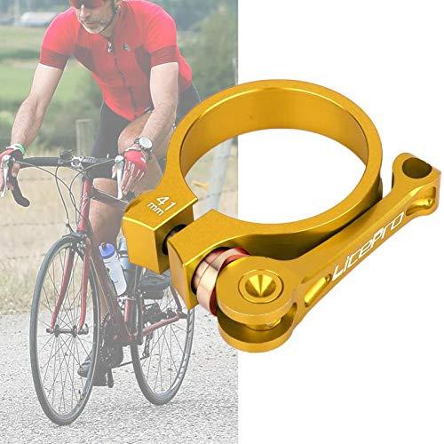 SALUTUYA Clip de Tubo de Asiento de Bicicleta Clip de Tubo de Bicicleta de liberación rápida aleación de Aluminio, para Bicicleta de tija de sillín de 33,9 mm(Golden)