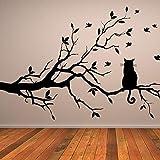 Tianpengyuanshuai Katze auf dem Zweig Wandaufkleber Vogel Hauptdekoration Wohnzimmer...