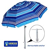 Best Beach Umbrella Rios - AMMSUN 7 ft Sand Anchor Beach Umbrella Adjustable Review