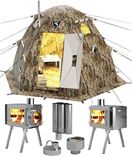 Russian-Bear Hot Tent with Stove Pipe Vent. Hunting Fishing Outfitter Tent with Wood Stove. 4 Season Tent. Expedition Arctic Living Warm Tent. Fishermen, Hunters and Outdoor Enthusiasts! 3 Person Kit