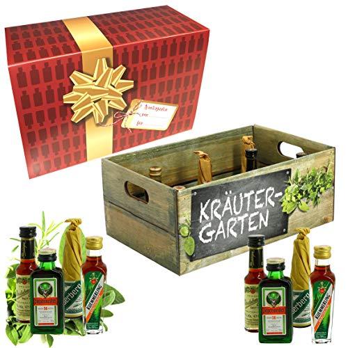 Creofant Kräutergarten · Witzige Geschenkidee für Männer und Frauen mit Alkohol · 8 x Kräuter-Likör · Hochwertige Geschenkbox - Limitierte Edition