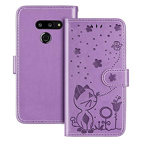 The Grafu Hülle für LG G8 ThinQ, PU Leder Stoßfest Klapphülle Handyhülle für LG G8 ThinQ, Brieftasche Schutzhülle mit Kartenfach, Violett