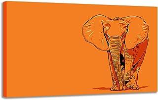 XIANRENGE Imprimé sur Toile,Animaux d'éléphant HD Orange Poster Toile Abstraite Moderne d'art de la Peinture Murale d'impr...