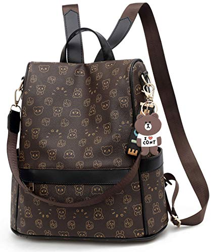 ECOTISH Mochila Antirrobo Mujer Bolso Mochila PU Cuero Impermeable para Mujer Mochila Casual Bolsa de viaje Messenger Bag Backpack (negro)