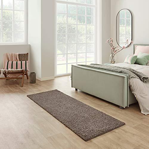 Carpet Studio Devotion Hochflor Teppich Läufer 57x150cm, Weicher Shaggy Flur Teppich Läufer, Schlaffzimmer, Wohnzimmer & Küche, Pflegeleicht, Geruchsneutral - Braun