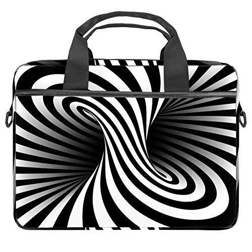 Laptoptasche mit geometrischem Muster und verdrehten Streifen, für 34 - 36,8 cm (13,3 - 14,5 Zoll) Apple MacBook Laptop Aktentasche Schwarz / Weiß