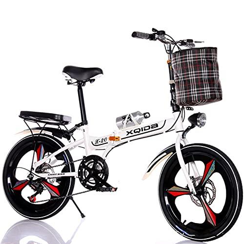 Bicicleta Plegable - Soporte para Bicicletas De 20 Pulgadas, Coche De Estudiante Plegable Portátil Ultraligero - para Almacenamiento De Bicicletas En Interiores Bicicleta Compacta De Ciudad Plegable