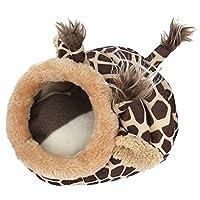 LYX ミニ冬の綿の巣暖かいヘッジホッグハムスター、取り外し可能なパッド付きハムスター、モルモットの赤ちゃん猫(キリン) (サイズ : M)