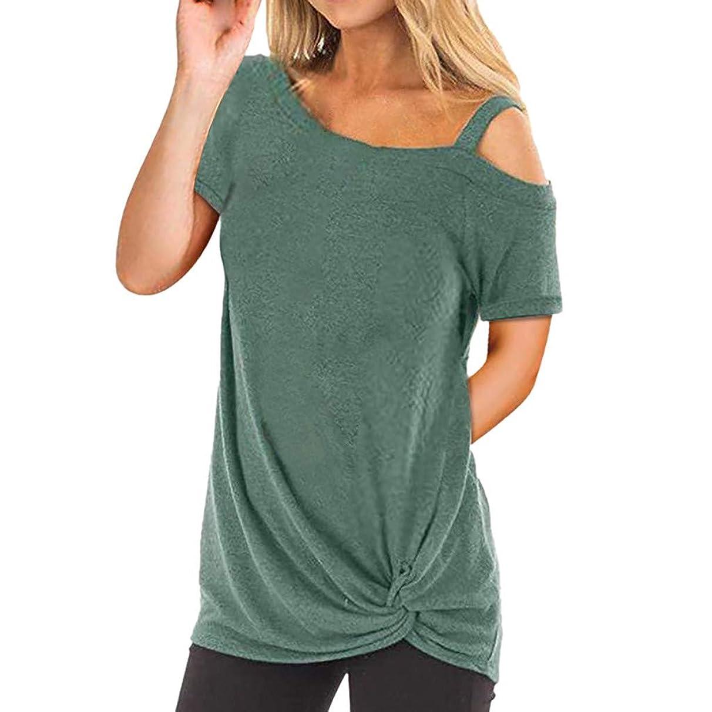 AOJIAN Women's T Shirt Short Sleeve Shirts Twist Knot Off Shoulder Tunic Blouse Tanks Vest Tops