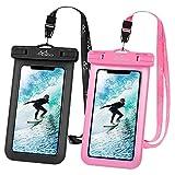 MoKo 2 Stück wasserdichte Handyhülle, Universal Handy Tasche Hülle IPX8 Schutzhülle für iPhone 12/12 mini/12 Pro/11/11 Pro/11 Pro Max/X/Xs/Xr/Xs Max/8/7/6s Plus, Galaxy S10/S10 e, Schwarz+Pink