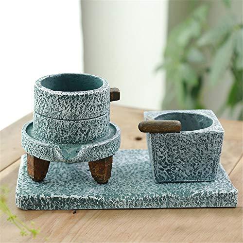 KIKIRon-Garden Ornement de Jardin Jardinière de jardinière en Pot de 3 Pots avec jardinière Classique pour la Maison et Le Jardin Mini Monde (Couleur : Gris, Taille : 11 * 10.5cm+7.5 * 7cm)