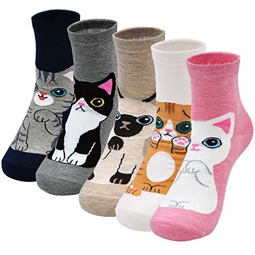 LOFIR Bunte Socken Damen Socken aus Baumwolle Lustige Socken Süß Karikatur Katze Hund Socken Lässige Kawaii Tier Socken Neuheit, für frauen schuhe größe 35-41, Mehrfarbig 6