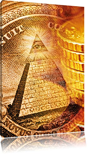 Pixxprint Illuminati Pyramide als Leinwandbild | Größe: 100x70 | Wandbild| Kunstdruck | fertig bespannt
