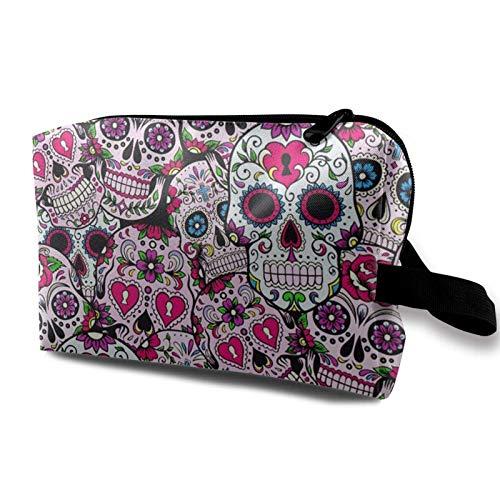 XCNGG Bolsas de maquillaje para niñas, bolsa de almacenamiento para artistas, bolsas de aseo, bolsa de cosméticos multifunción, calavera de azúcar, patrón mexicano
