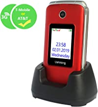 $51 » Ushining 3G Unlocked Flip Cell Phone for Senior & Kids,Easy-to-Use Big Button Cell Phone with Charging Dock (Red)