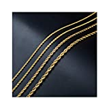 2mm 18k Real Gold Plated Twist Chain Necklace Stainless Steel Necklace 16-38 Inches Men Women Jewellery