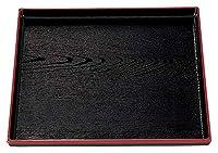 (A)正角木目盆 黒天朱 尺1寸 [ 33.5 x 33.5 x 2cm ] [ お盆 ] | 飲食店 ホテル 旅館 和食 業務用