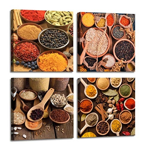 kitchen Wall Decor Colorful of Spices and Cereals with Cooking Ingredients Herbs Photos Canvas Wall art - 4 Panels Framed Art Food Pictures Canvas Prints Wall Art for Home Dining Room Decor 4pcs/set