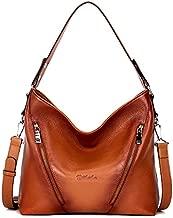 BOSTANTEN Women Leather Handbag Designer Large Hobo Purses Shoulder Bag Brown