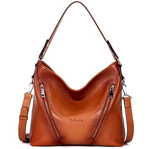 """High Quality -- The shoulder hobo bag is made of genuine cow leather by professional artisans. Durable fabric lining with custom silver hardware that make the handbag more luxury, generous and elegant. Dimensions -- (L)12.9"""" x (W)4.3"""" x (H)12.6"""", han..."""