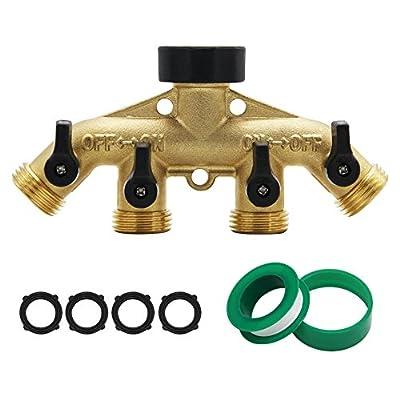 """ATDAWN 4 Way Brass Hose Splitter, 3/4"""" Brass Hose Faucet Manifold, Garden Hose Adapter Connector"""