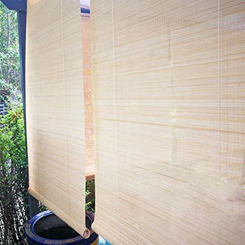Estor Enrollable Bambú Persiana Jardín Al Aire Libre Cortina Enrollable de Bambú, Impermeable Grande Persianas Venecianas Que Bloquean El Sol para Vivero Cabañas de Playa Tea Roma, 85/105/125/145 Cm d