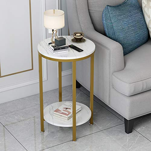 2-Tier Round End Side Table with White Marble Top,Small Bedside Table for Living Room or Bedroom,Gold