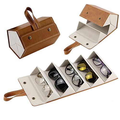 NA- Organizador De Gafas,5 Ranuras Portátil Plegables Gafas de sol de Cuero PU para Hombre y Mujer,Gafas de Sol Organizador de Viaje Almacenamiento para Joyería,Gafas (Marrón)