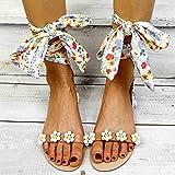Sandalias Planas Verano Mujer Estilo Bohemio Plano Sandalias con strass Elegantes Flip Flop Playa Moda Chanclas Talla 35-43,Blanco,39