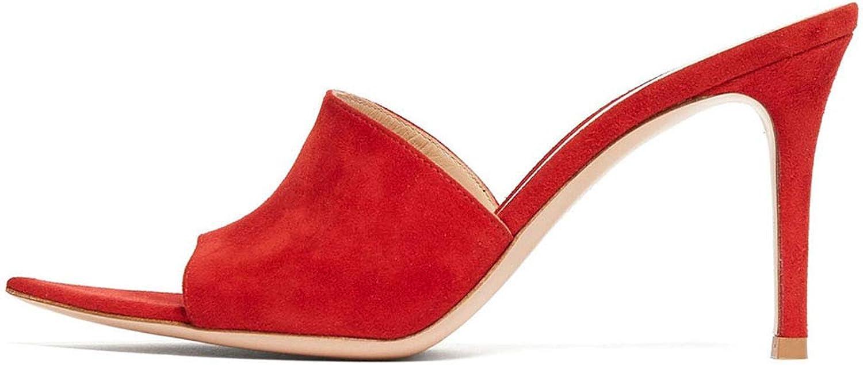 hög klack s, Woherrar Sandals - Pointed Toe Toe Toe - Stiletto skor - high Heel Muller - Super hög klack (8CM eller More), röd,37  bra rykte