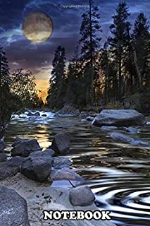 """Notebook: Super Moon At Sunset With River In Foreground , Journal for Writing, College Ruled Size 6"""" x 9"""", 110 Pages"""