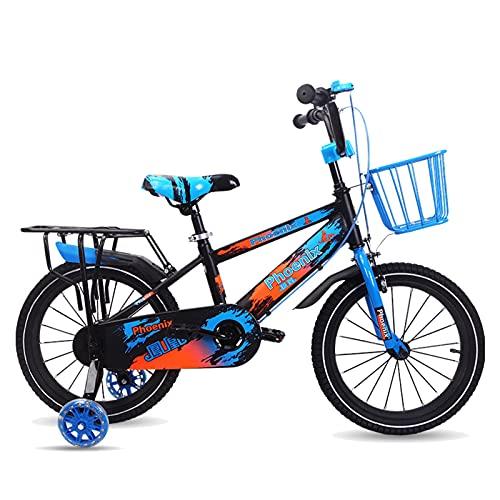 Axdwfd Infantiles Bicicletas Bicicletas para niños para niños y niñas, 2 Colores, 14', 16', con estabilizadores, Asientos Traseros y Corchetes. (Color : Blue, Size : 14in)